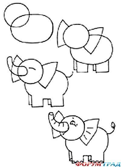 Как нарисовать ребенку слоника
