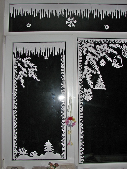 Украшения на окно своими руками на новый год