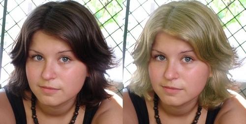 Изменить цвет волос на фото