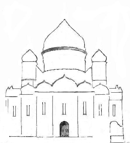 Нарисовать храм христа спасителя карандашом