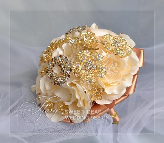 Как сделать свадебный букет брошь своими руками