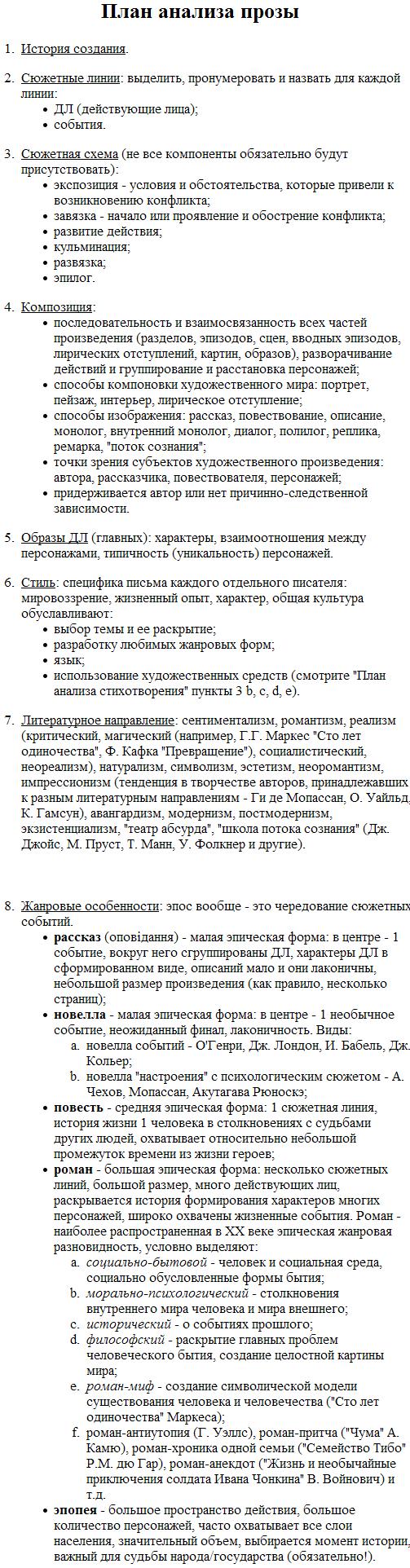 Как сделать анализ текста по плану