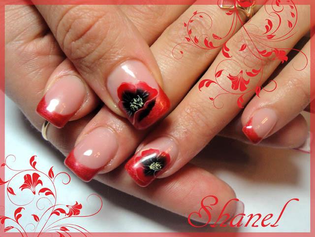 Рисунок маки на ногтях