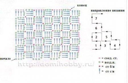 вязание крючком по диагонали