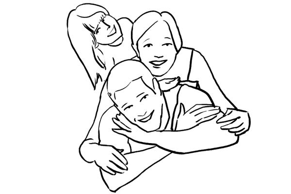 Раскраска семьи из 3 человек