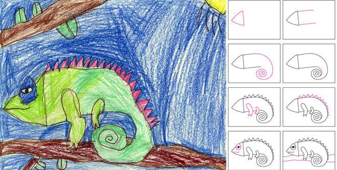 Хамелеон как рисовать детям