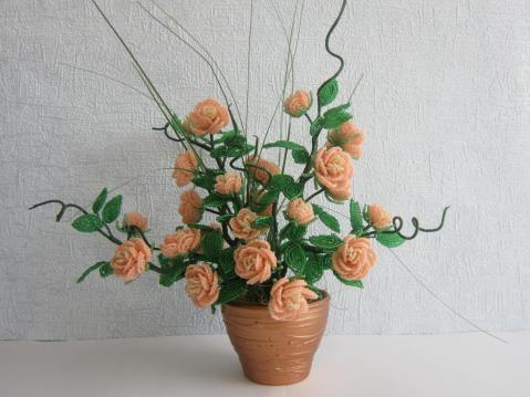 Куст розы из бисера схемы