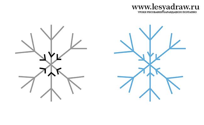 Как нарисовать снежинки на бумаге поэтапно