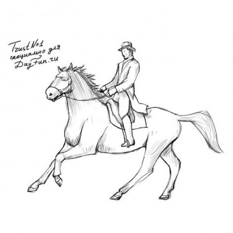 Нарисовать всадника на коне поэтапно