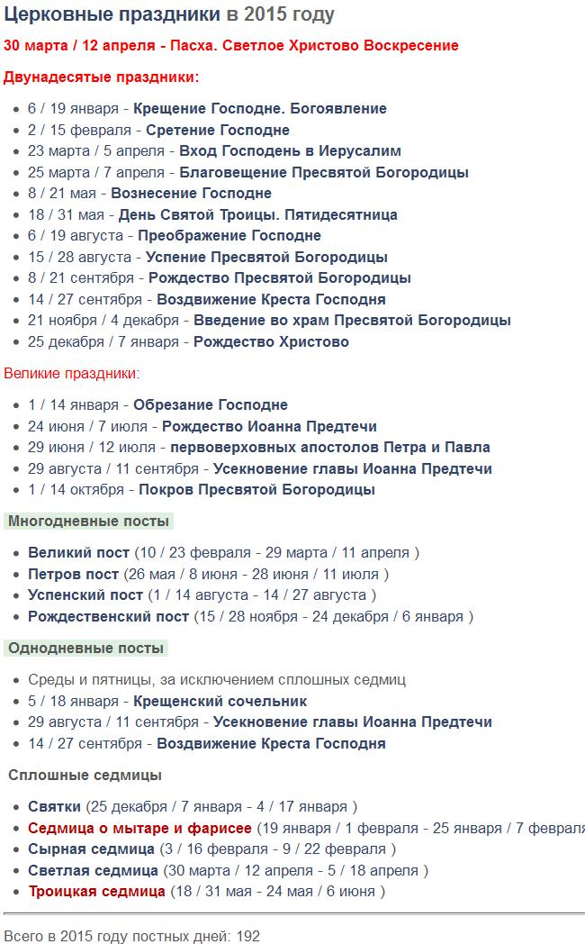 Календарь (даты) церковных православных праздников и постов на 2015 год?