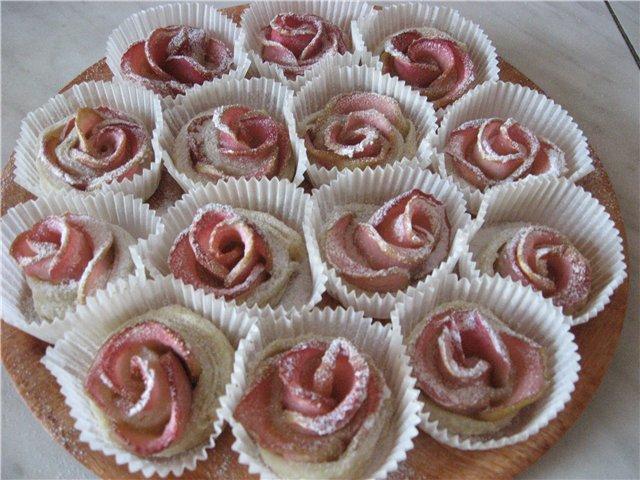 Слоеные розочки с яблоками рецепт с фото