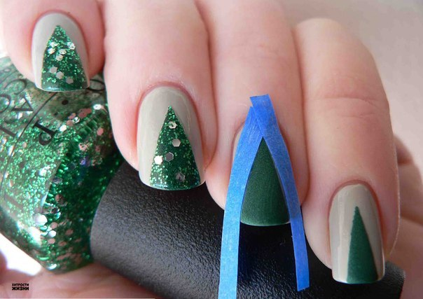 Новогодний маникюр своими руками фото на коротких ногтях