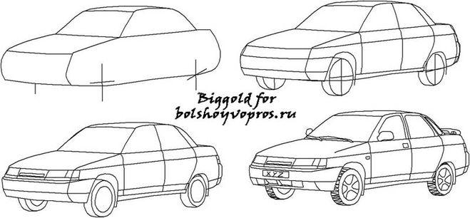 Рисунки поэтапно автомобилей