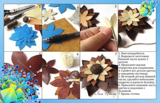 Изготовление своими руками цветов из кожи