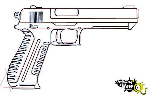как рисовать пистолет карандашом: