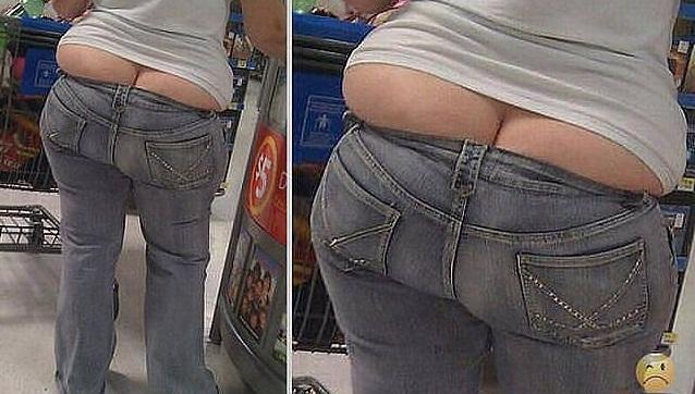 Толстая попка в джинсах