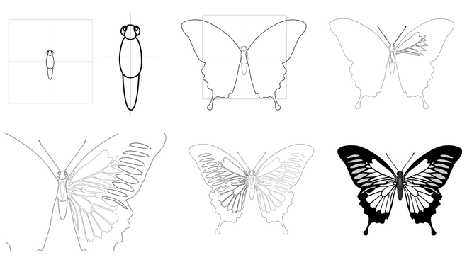 нарисовать бабочку