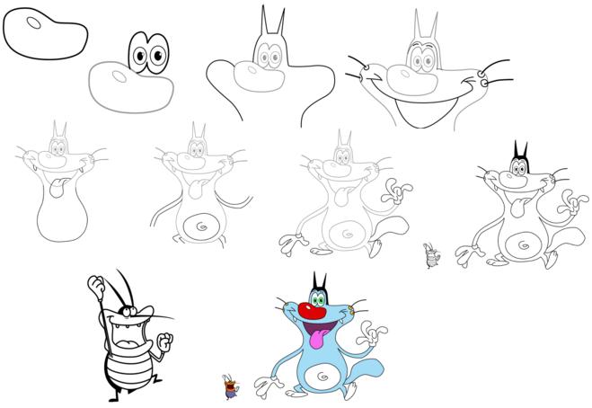 Огги и тараканы как нарисовать тараканов