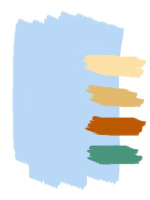 голубой с бежевым, коричневым, зеленым