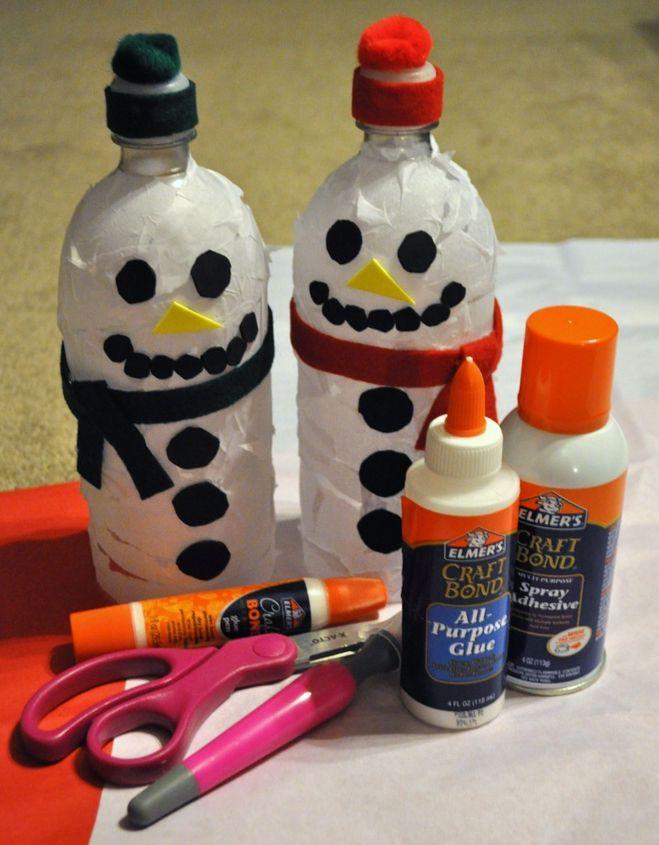 Снеговик из пластиковых бутылок своими руками мастер